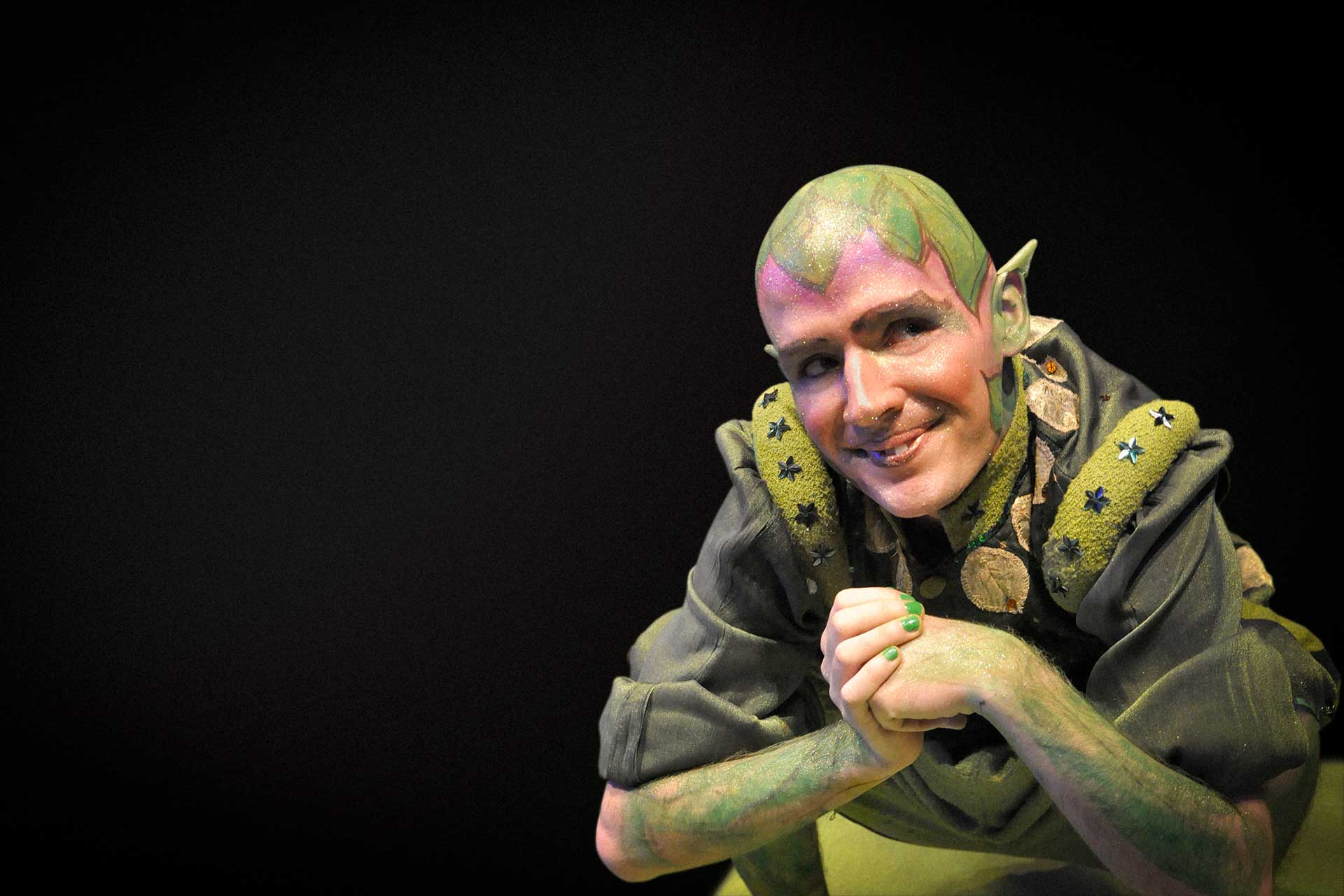Noel Andrew Harron as the mischievous sprite, Puck, in S4K's A Midsummer Night's Dream